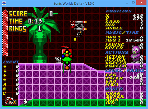 Sonic Worlds Delta Debug